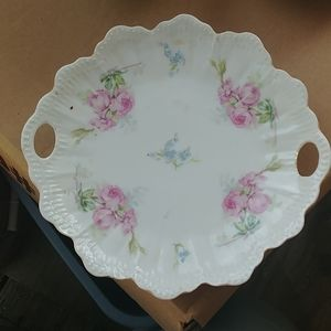 VICTORIAN 10 INCH 2 HANDLED ROSE FLORAL CAKE PLATE
